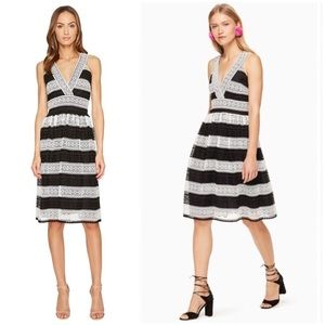 KATE SPADE Dress Lace Striped Fit and Flare New 10